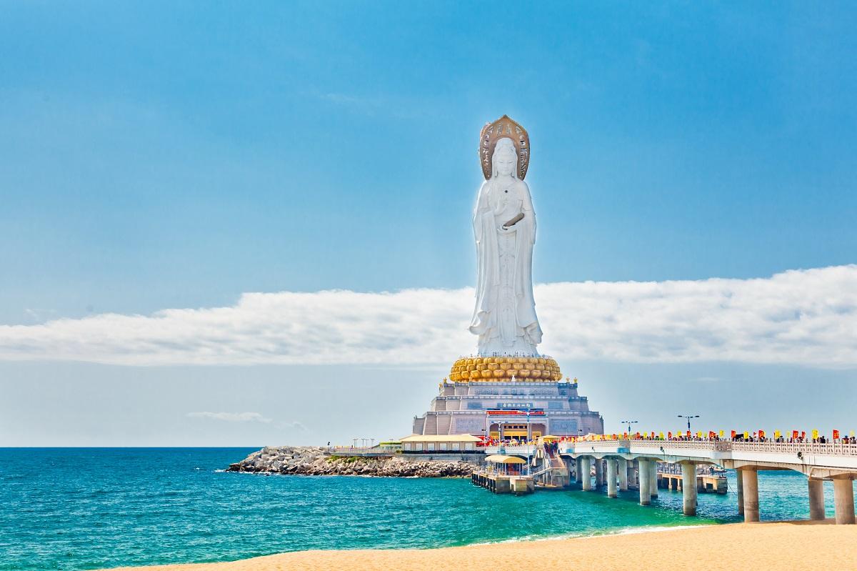 Guanyin statue at seaside, Sanya city, Hainan province, China