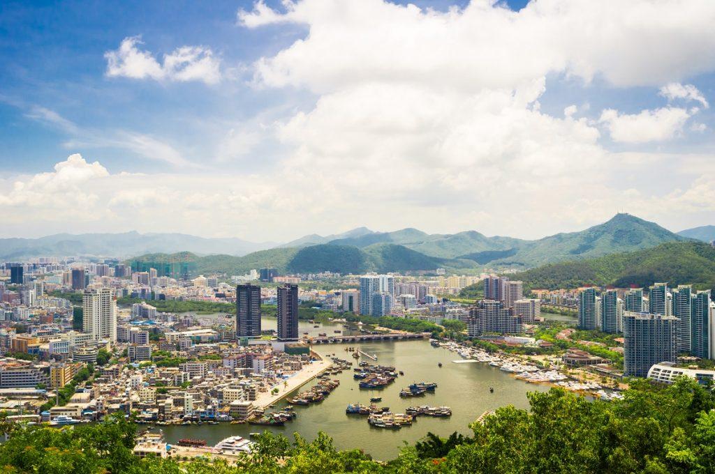An aerial view of Sanya city, Hainan Province, China