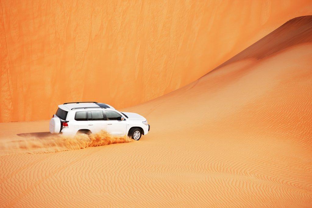 4x4 dune bashing is a popular sport of Arabian desert