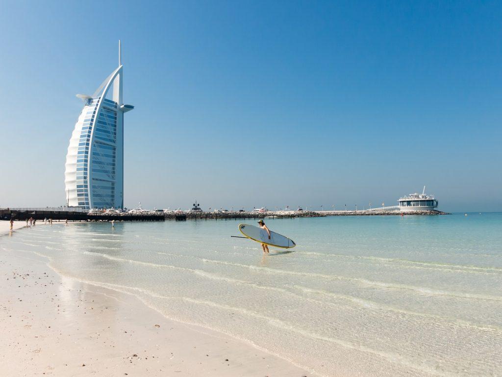 Jumeirah Beach and Burj al Arab Hotel in Dubai