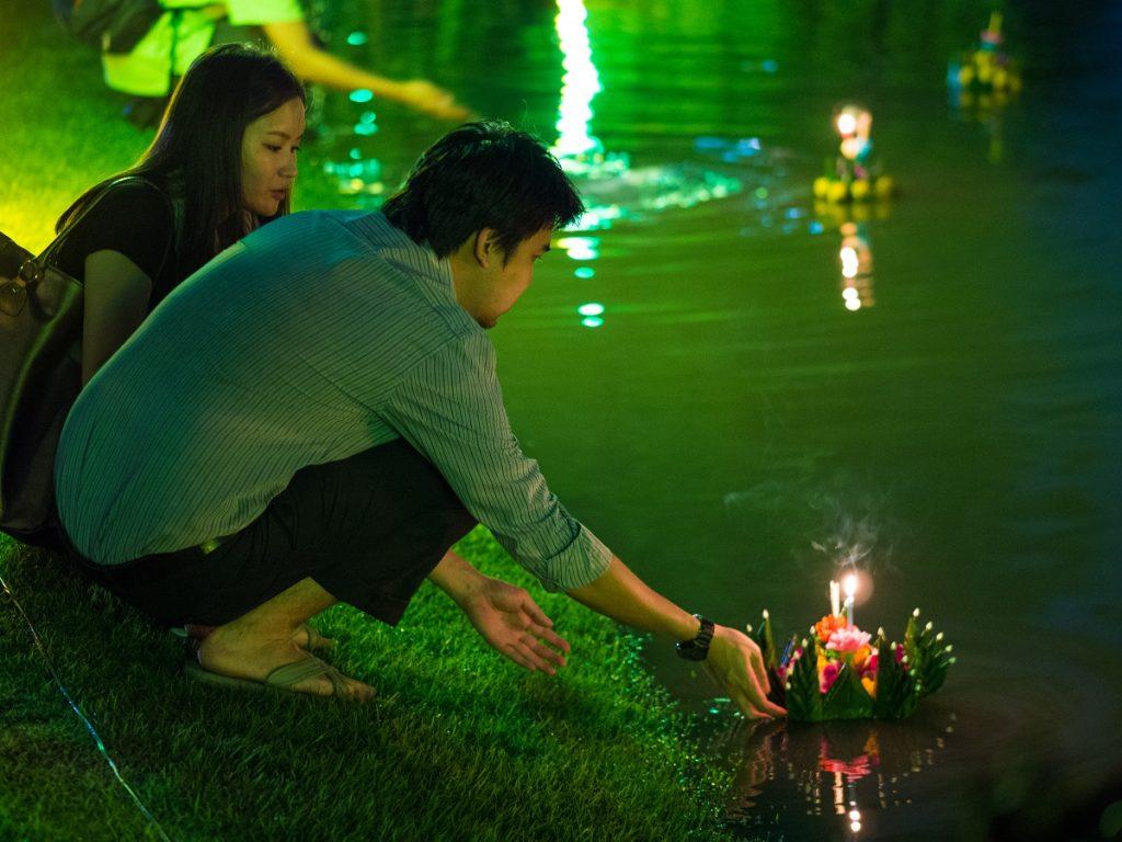 Loy Krathong in Lumpini Park in Bangkok, Thailand