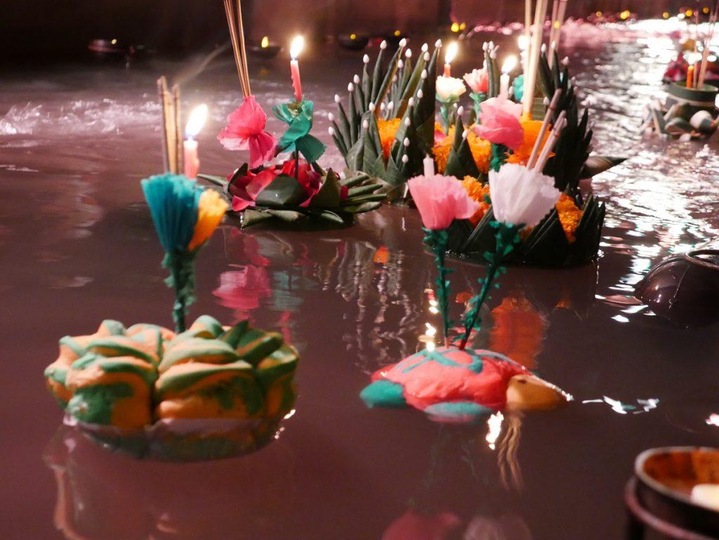 Floating Krathongs used to celebrate during Loy Krathong Festival