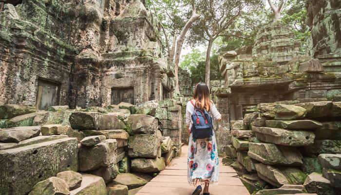 Exploring Angkor Wat temple complex